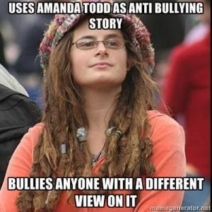 Uses Amanda Todd as anti bullying story