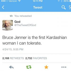 Bruce Jenner is the first Kardashian woman I can tolerate.