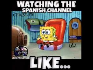 Watching the Spanish Channel on the low...