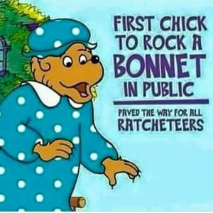 First chick to rock a bonnet in public