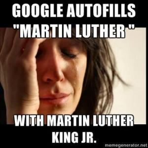 "Google auto fills ""Martin Luther""