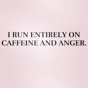I run entirely on caffeine and anger.