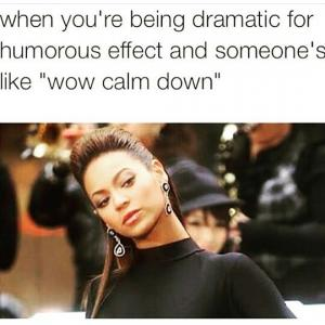 """When you're being dramatic for humorous effect and someone's like """"wow calm down"""""""
