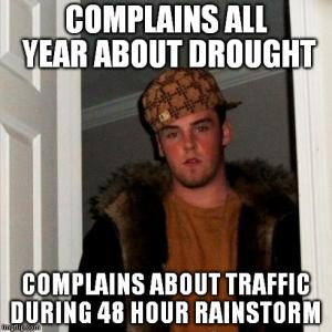 Complains all year about drought
