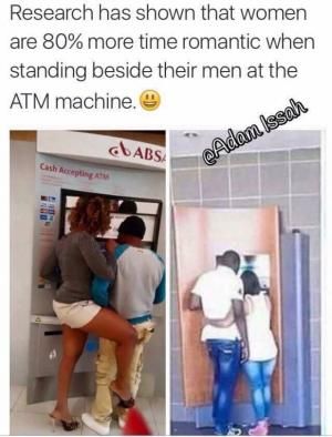 Research has shown that women are 80% more time romantic when standing beside their men at the ATM machine