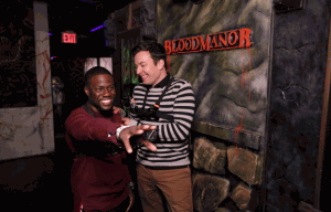 Tonight Show host, Jimmy Fallon brings comedian, Kevin Hart, to a haunted house and it's unclear who freaked out most!