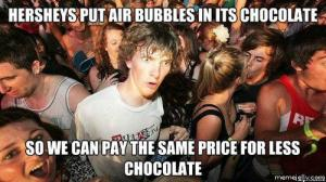Hersheys put air bubbles in its chocolate